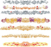 Dekorative goldene und silberne Linien mit roten Herzen Stockfotografie
