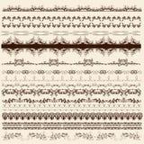 Sammlung kalligraphische Grenzen für Entwurf Lizenzfreies Stockbild