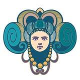 dekorative Hauptfrau hat Horn stock abbildung