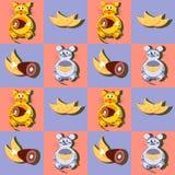 Dekorative Karikaturkatze und -maus mit seinem Lieblingsnahtlosen Muster des Lebensmittels, des Käses und des Fleisches Stockfotos