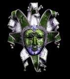 dekorative Karnevalsmaske auf Schwarzem Stockfoto