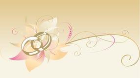 Dekorative Karte mit Hochzeitsringen stockbild