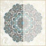 Dekorative Kreisschablone mit Blumenhintergrund Stockfotos