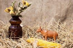 Dekorative Kuh nahe Mais im Stroh Stockfotos
