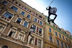 Dekorative lapm Straße in Riga, Lettland stockfotos