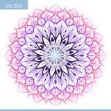 Dekorative Mandala im Rosa und in den purpurroten Farben stock abbildung