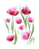Dekorative Mohnblumenblumen Dekoratives Bild einer Flugwesenschwalbe ein Blatt Papier in seinem Schnabel Stockbilder
