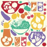 Dekorative Nahrungsmittelikonen Lizenzfreies Stockbild