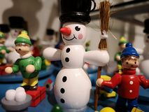 A wooden Snowman stock photography