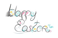 Dekorative Ostern-Zusammensetzungshandgezogener schwarzer Guss auf weißem Hintergrund Lustiges Gekritzel vom Häschen, Eier, Blume stock abbildung