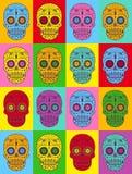 Dekorative Pop-Arten-Zuckerschädel Stilisierter Schädel stock abbildung