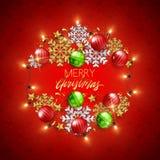Dekorative Postkarte des frohe Weihnacht-guten Rutsch ins Neue Jahr, Flitter und stock abbildung