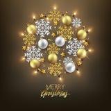 Dekorative Postkarte des frohe Weihnacht-guten Rutsch ins Neue Jahr, Flitter und vektor abbildung