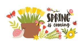 Dekorative Postkartenschablone mit Frühling ist die kommende Phrase, die mit dem kursiven kalligraphischen Guss handgeschrieben i stock abbildung