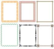 Dekorative Rahmen mit den Blumen- und verschiedenen Mustern Lizenzfreie Stockfotos