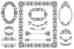 4 dekorative Rahmen und 9 Elemente für Postkarten und Buchstaben Stockfotos