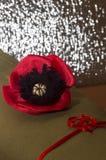 Dekorative rote liegende Mohnblume - auf dem rauen Gewebe vom kakifarbigen Lizenzfreies Stockbild