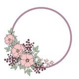 Dekorative runde Pastellgrenze mit wilden rosafarbenen Blumen der Weichheit Stockfotografie