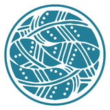 Dekorative Runde versieht Mandala auf weißem Hintergrund mit Federn Digital-Rosette Lizenzfreies Stockfoto