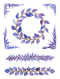 Dekorative Sammlung des Aquarells, verschiedene Elemente mit abstrakten Blättern Stockfoto