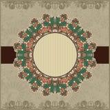 Dekorative Schablone der Kreisweinlese mit Platz für Lizenzfreie Stockfotos