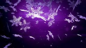 Dekorative Schneeflocken 3d fallen nachts auf einem purpurroten Hintergrund Gebrauch als lebhaftes Weihnachts-, des neuen Jahresk stock video footage