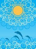 Dekorative Sonne und Wellen lizenzfreie abbildung