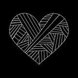 Dekorative StValentine-` s Grußkarte mit buntes zentangle Blumenherzskizze Vektorherzillustration mit Lizenzfreies Stockbild