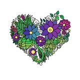 Dekorative StValentine-` s Grußkarte mit buntes zentangle Blumenherzskizze Vektorherzillustration mit Lizenzfreie Stockfotos