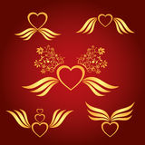 Dekorative Symbole der Goldliebe lizenzfreie abbildung