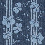 Dekorative tropische Blumen - nahtloser Hintergrund - Jeansbeschaffenheit lizenzfreie abbildung