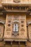 Dekorative ?u?ere Ansicht von Patwon Ki Haveli, Jaisalmer, Rajasthan, Indien lizenzfreie stockbilder