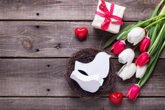 Dekorative Vögel im Nest, helle Frühlingstulpen blüht, Kasten wi Stockbilder