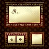 Dekorative Verzierung des Zauberweinlesegoldfeldes Stockbilder