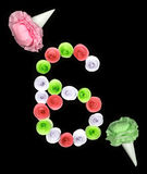 Dekorative Zahl von sechs gezeichneten Papierblumen Lizenzfreies Stockbild