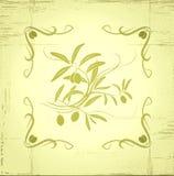 Dekorativer Ölzweig. Für Aufkleber Satz. stock abbildung