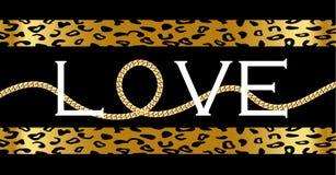 Dekorativer 'Liebes'Text mit mit goldener Kette auf Leoparden lizenzfreie abbildung