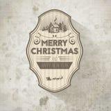 Dekorativer Aufkleber Retro- Weinlese des Gutshofs alt-aussehendes Weihnachts Stockbild