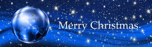 Dekorativer Ball der frohen Weihnachten und Sterne, Hintergrund Lizenzfreies Stockbild