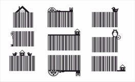 Dekorativer Barcode eingestellt mit eco Elementen Lizenzfreies Stockfoto