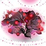 Dekorativer Baum mit Schwarzweiss-Niederlassungen Stockfoto