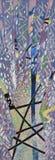Dekorativer Baum und Blätter auf dem Hintergrund einer Waldzeichnung mit Gouachefarben Stockfotografie