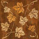 Dekorativer Baum verlässt - nahtloser Hintergrund - hölzerne Beschaffenheit lizenzfreie abbildung