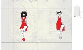 Dekorativer Beutel mit junger Frau der Art und Weise vektor abbildung