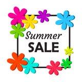 Dekorativer Blumenrahmen mit Aufschrift Sommerschlussverkauf Auch im corel abgehobenen Betrag lizenzfreie abbildung