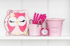 Dekorativer bunter netter Owl Mats auf weißem Regal Lizenzfreie Stockbilder