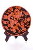 Dekorativer chinesischer Saucer auf Weiß stockbild