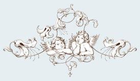 Dekorativer Elementstich der Weinlese mit barockem Verzierungsmuster und -amoren Lizenzfreies Stockfoto