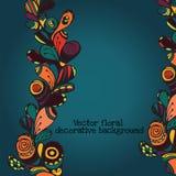 Dekorativer ethnischer mit Blumenhintergrund Paisleys des Vektors Muster mit Gekritzelgestaltungselementen Stockfotos