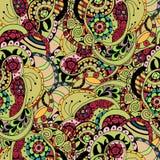 Dekorativer ethnischer mit Blumenhintergrund Paisleys des Vektors Nahtloses Muster mit Gekritzelgestaltungselementen Stockbilder
